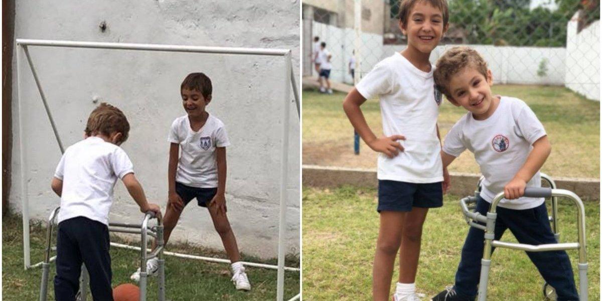 """""""Cada día nos emocionan estos pequeños"""": las maravillosas imágenes de dos niños que nos dan una verdadera lección de amistad e inclusión"""