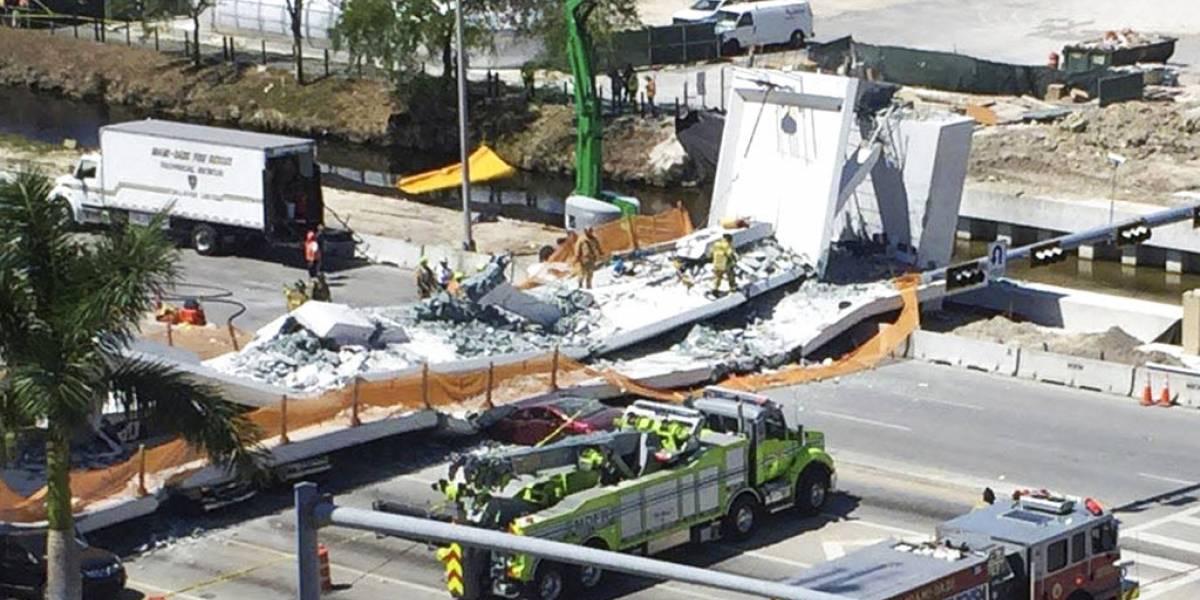 Momento exacto del colapso de puente en Miami