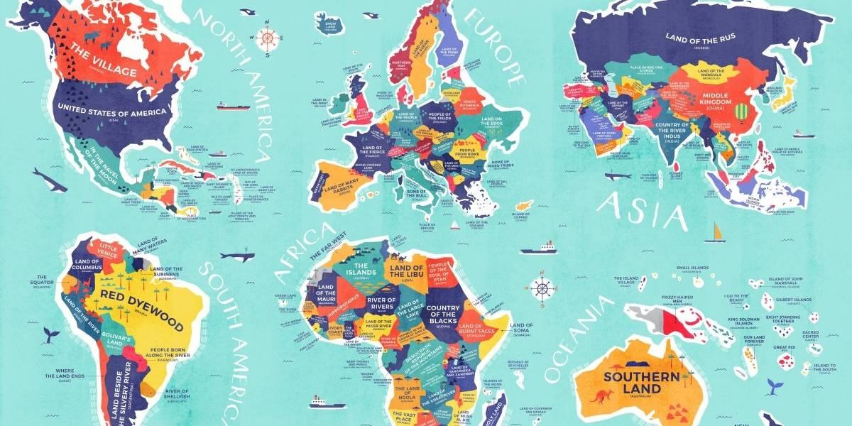 El espectacular mapa con el significado literal de cada país del mundo