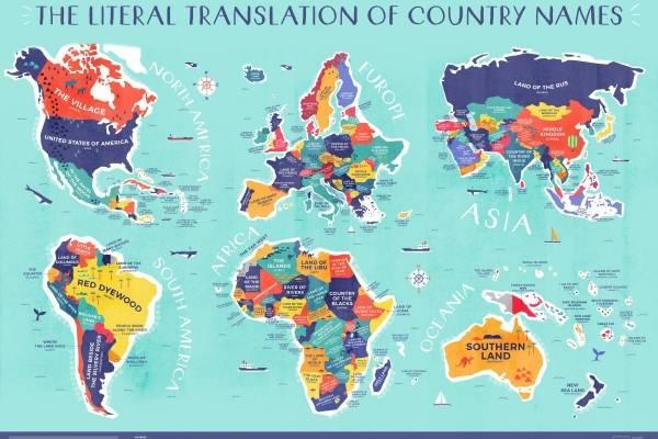 Mapa De El Mundo.El Espectacular Mapa Con El Significado Literal De Cada Pais