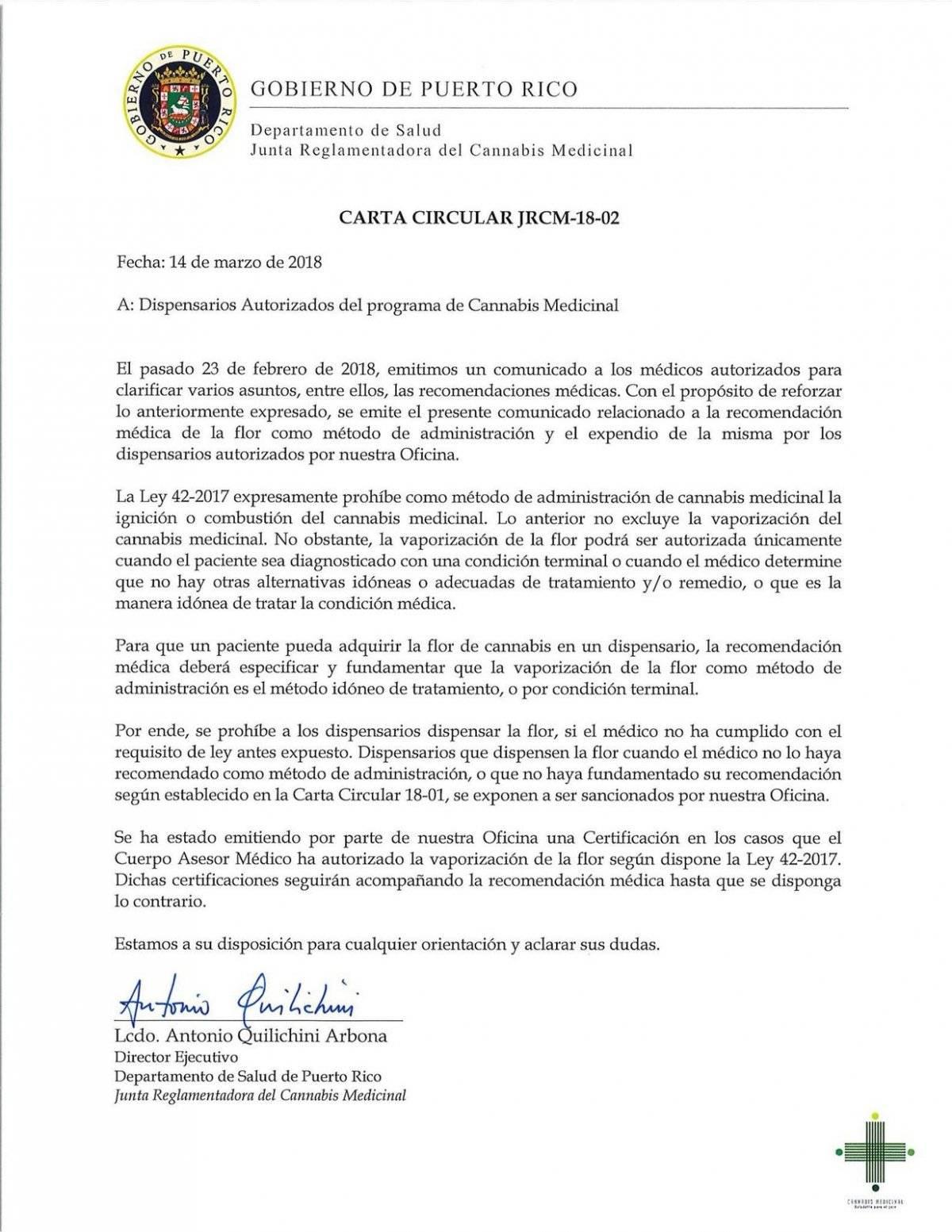 Carta Circular sobre la prohibición de venta de la flor de cannabis para uso medicinal. / Suministrada