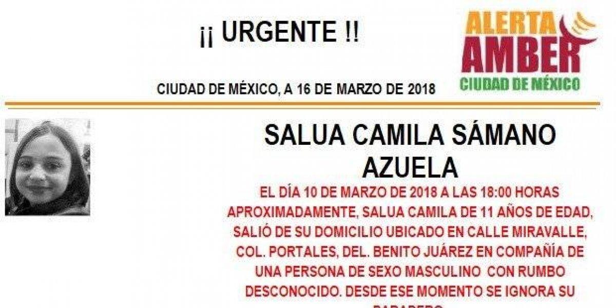 Alerta AMBER: Salua Camila Sámano Azuela desapareció de su casa