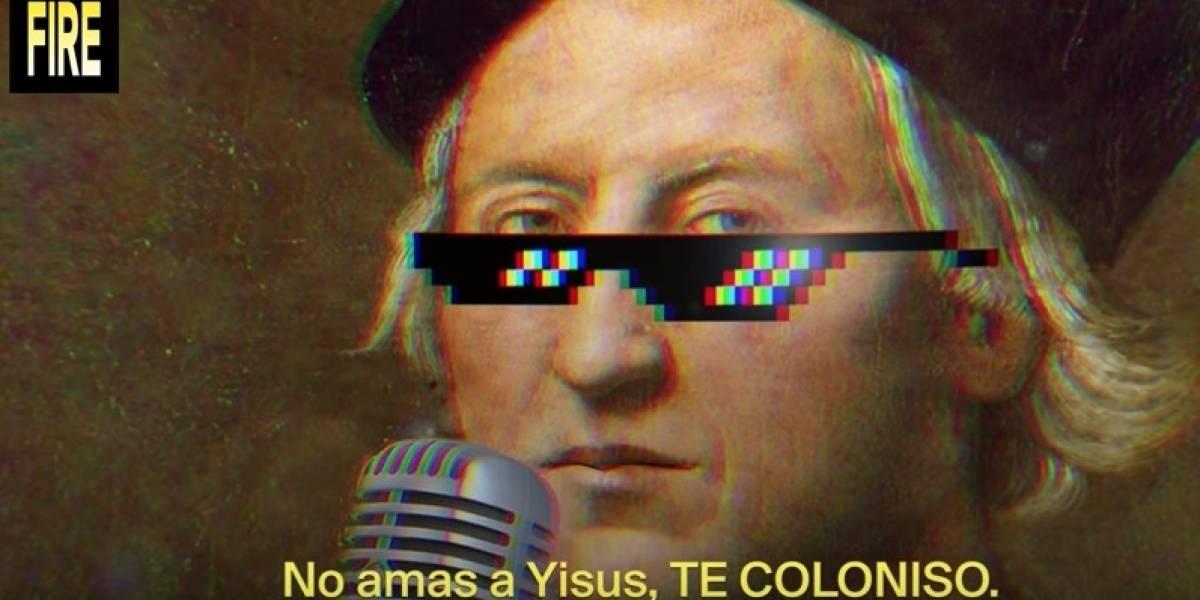 Cristobal Colón canta en reggaetón la colonización de América