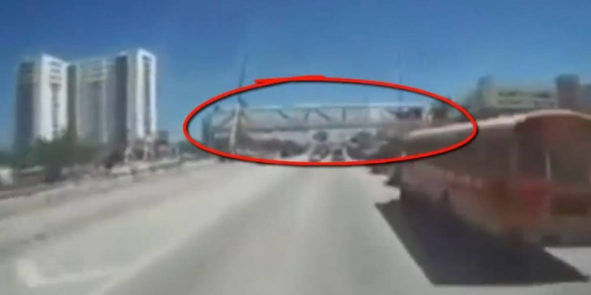 Video: Automóvil capta otra perspectiva de la caída puente en Miami