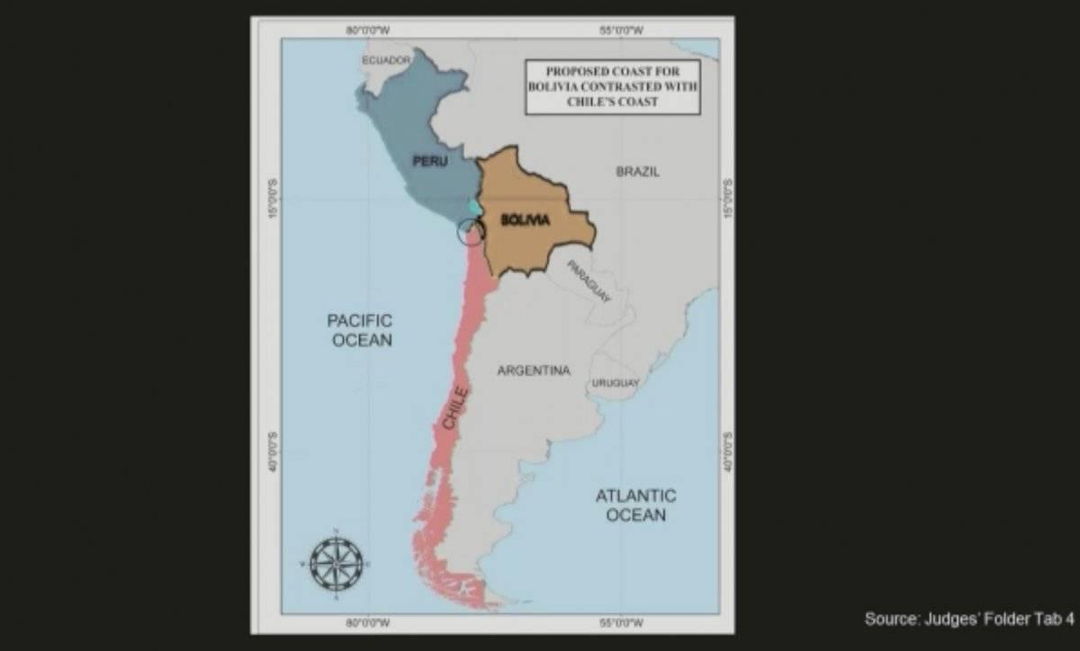 Mapas de Chile usado como respaldo de la defensa de Bolivia