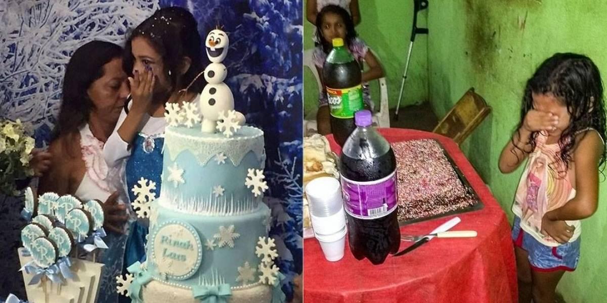 Menina que se emocionou ao ganhar bolo de aniversário ganha festa do 'Frozen'