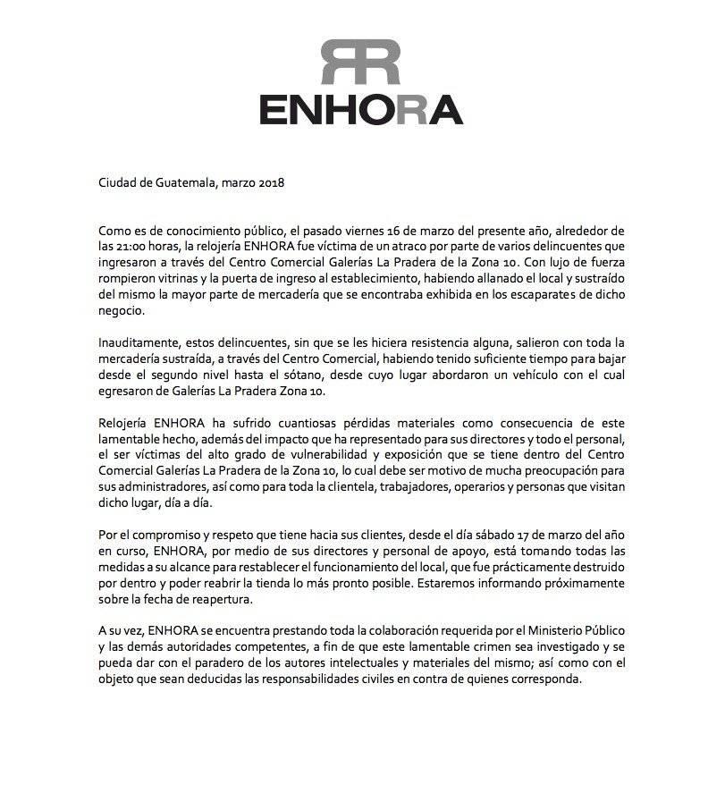 Comunicado ENHORA