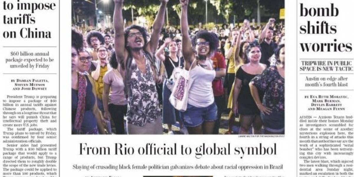 Marielle estampa foto do 'Washington Post' e é chamada de 'símbolo global'