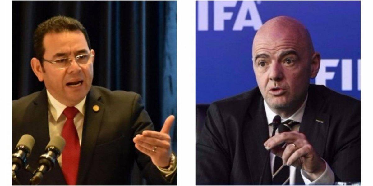 Sale a luz petición que Jimmy Morales hizo a Gianni Infantino, presidente de FIFA