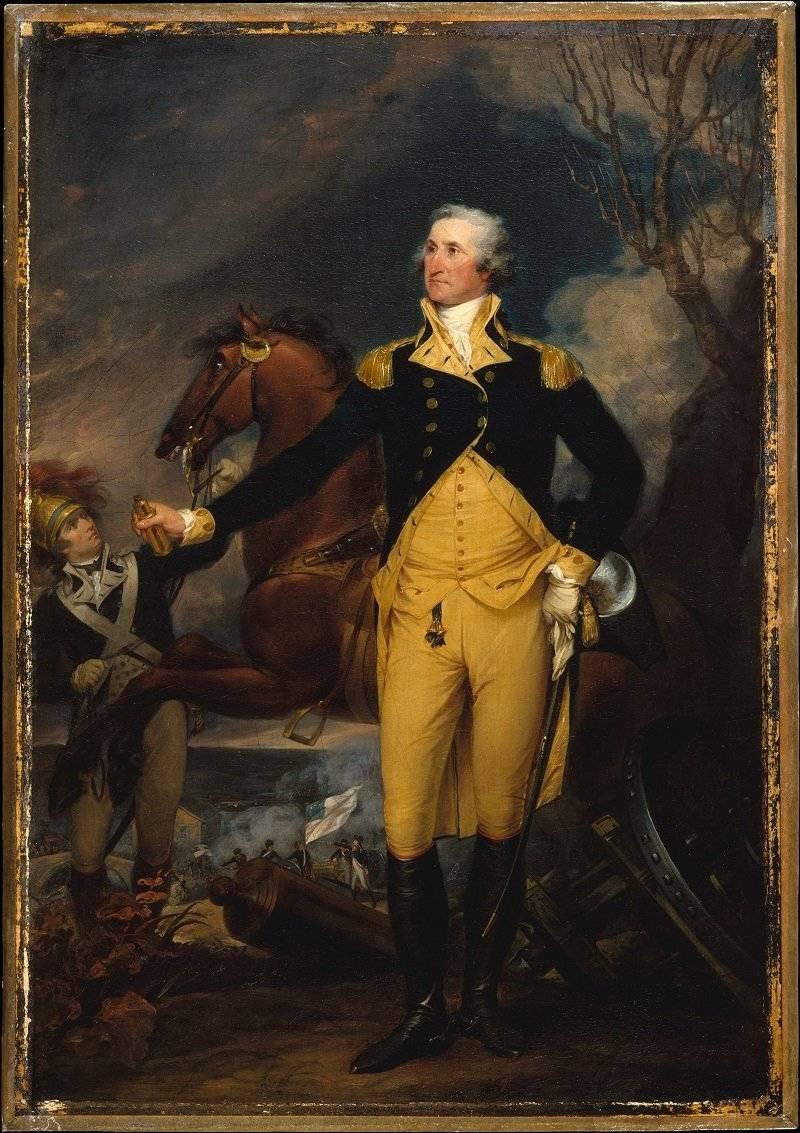 Los hombres del siglo XVII adornados con todas sus galas, incluso con bolsillos en sus abrigos. George Washington antes de la Batalla de Trenton, por John Trumbull. The MET