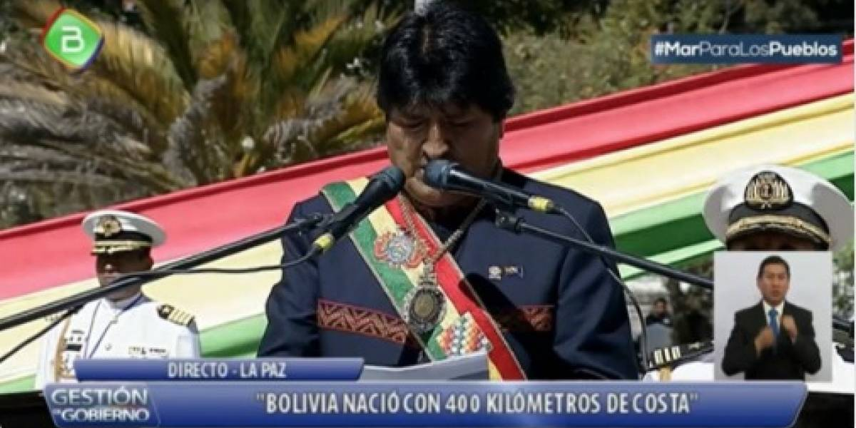 """Un Evo Morales desatado en el Día del Mar:  """"Bolivia con la fuerza del derecho refuta a Chile"""""""