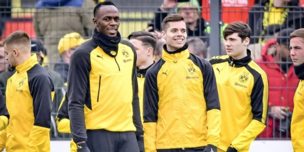 Cumplió un sueño: Usain Bolt entrenó en Borussia Dortmund, anotó un golazo y tiró un tunel notable