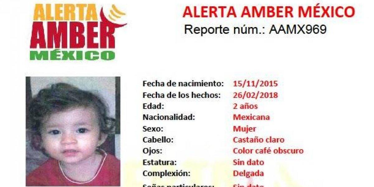 Alerta AMBER: Luna Sofía Sánchez Molina, de 2 años, fue sustraída de su casa