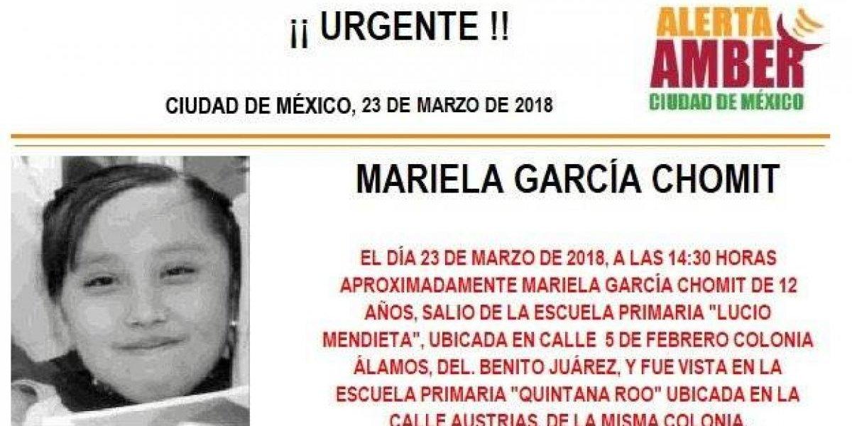 Alerta AMBER: Mariela García Chomit desapareció al salir de la primaria