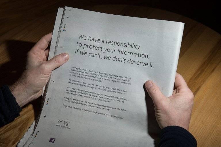 Disculpa de Facebook publicada en la prensa británica