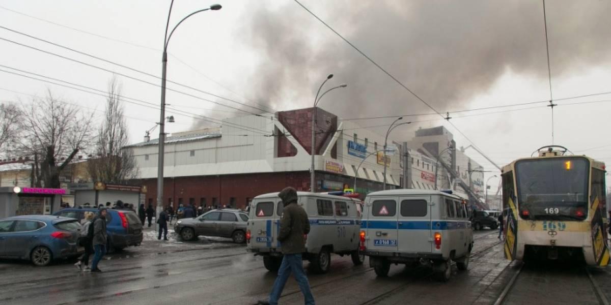 Mueren 4 niños por incendio en centro comercial en Siberia