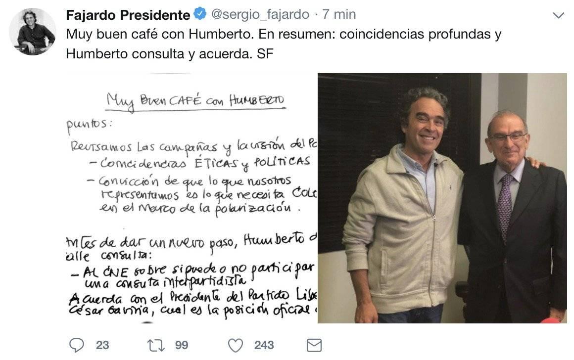 Alianza entre Sergio Fajardo y Humberto de la Calle