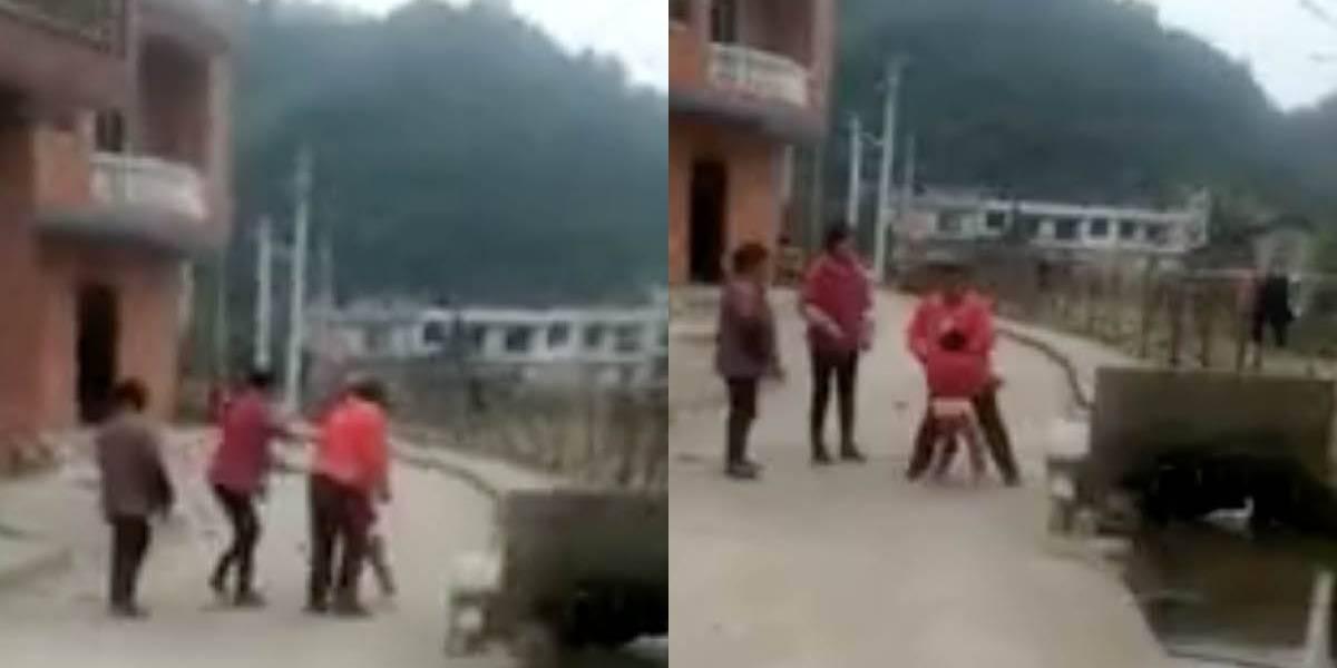 Mujer arrojó a un niño a un canal en medio de una pelea callejera