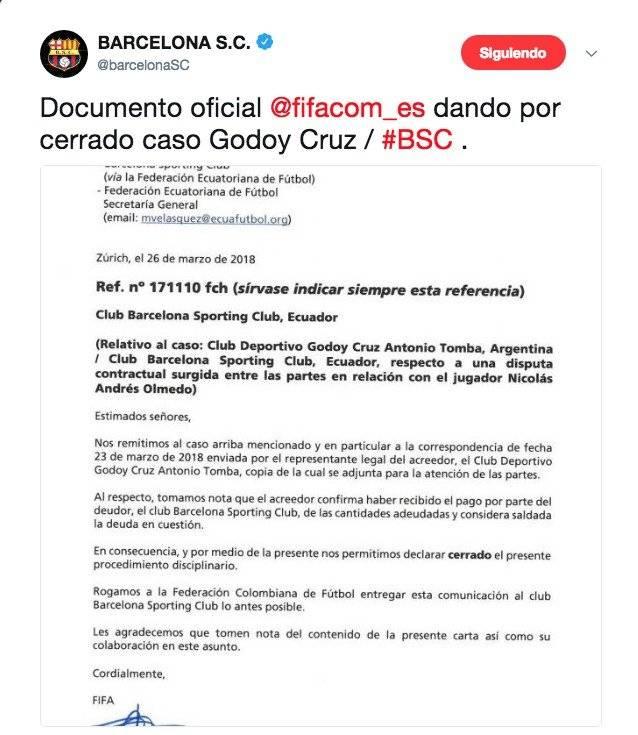 FIFA mandó un documento a Barcelona SC