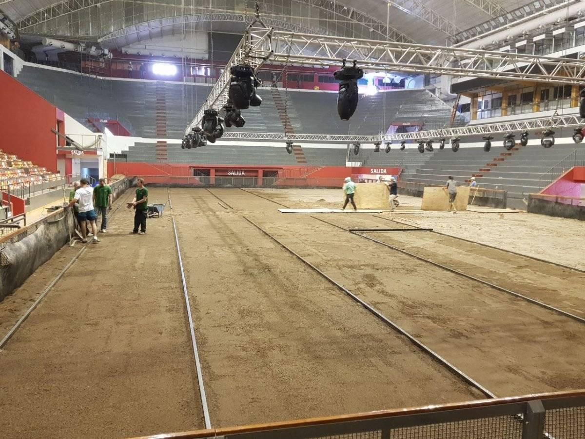 Así luce hasta el momento la cancha del estadio Aldo Cantoni / Gentileza: Federación Sanjuanina de Tenis