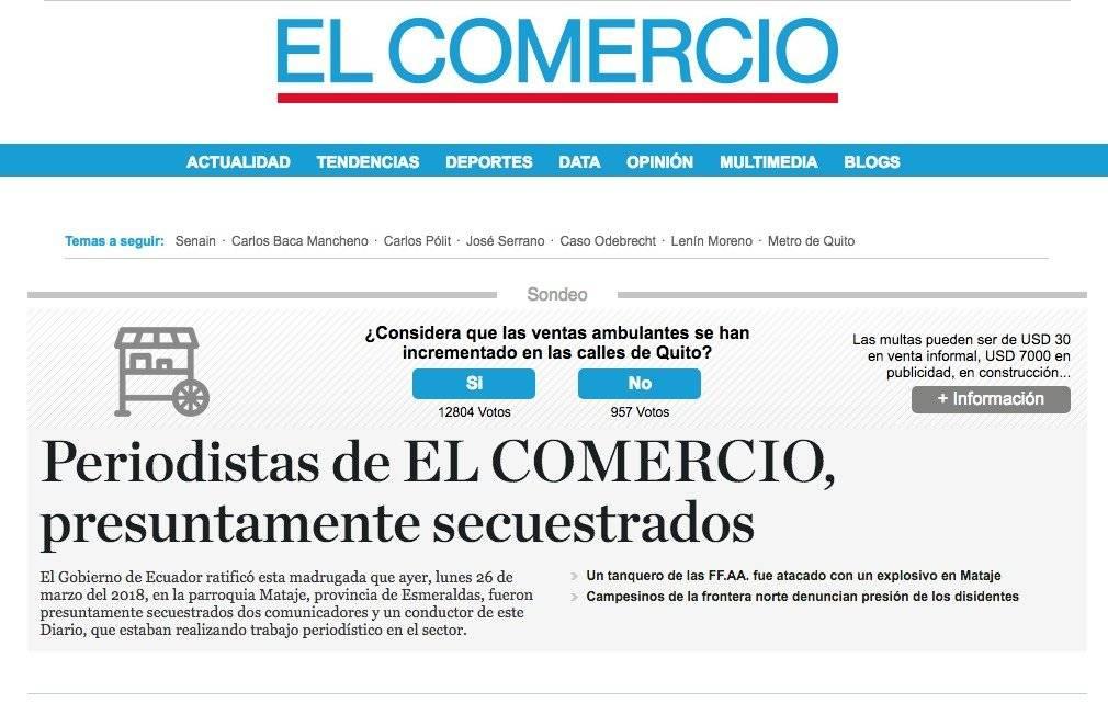 Periodistas secuestrados podrían estar en Colombia