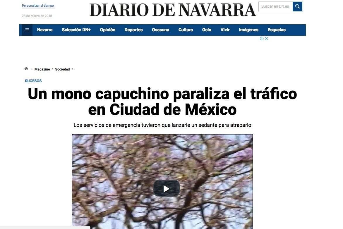 Diario de Navarra sobre el mono capuchino