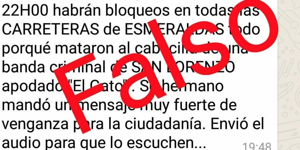 En redes sociales se desmiente que habrá bloqueos en carreteras de Esmeraldas