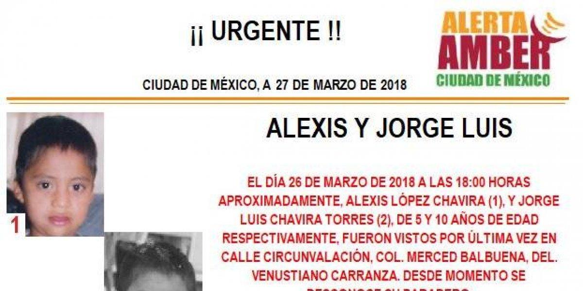 Alerta AMBER: Alexis y Jorge Luis desaparecieron en la Merced Balbuena