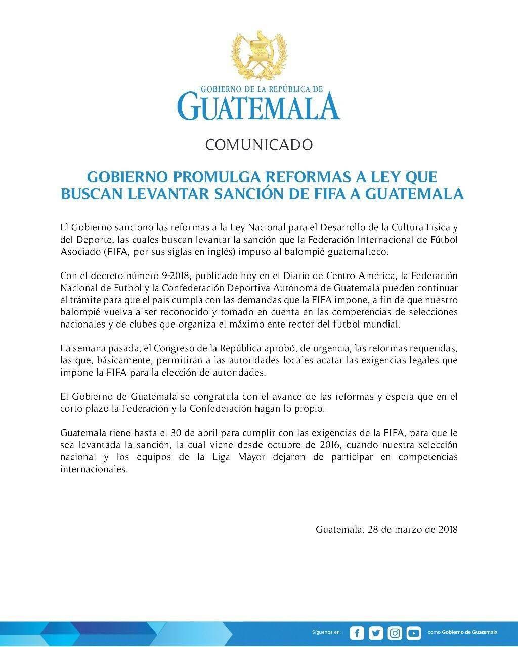 presidente Jimmy Morales sanciona ley nacional para el desarrollo de la cultura física y del deporte