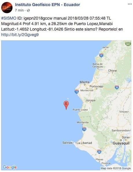 Se registró sismo en Puerto López, Manabí: