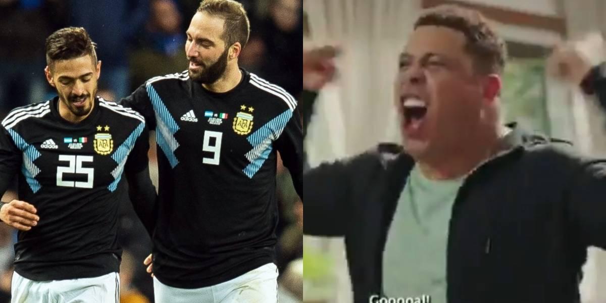 Ronaldo celebró un gol de la Selección Argentina