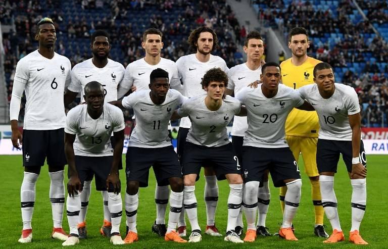 La selección francesa antes de un partido