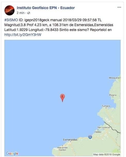 Se registra sismo en Esmeraldas
