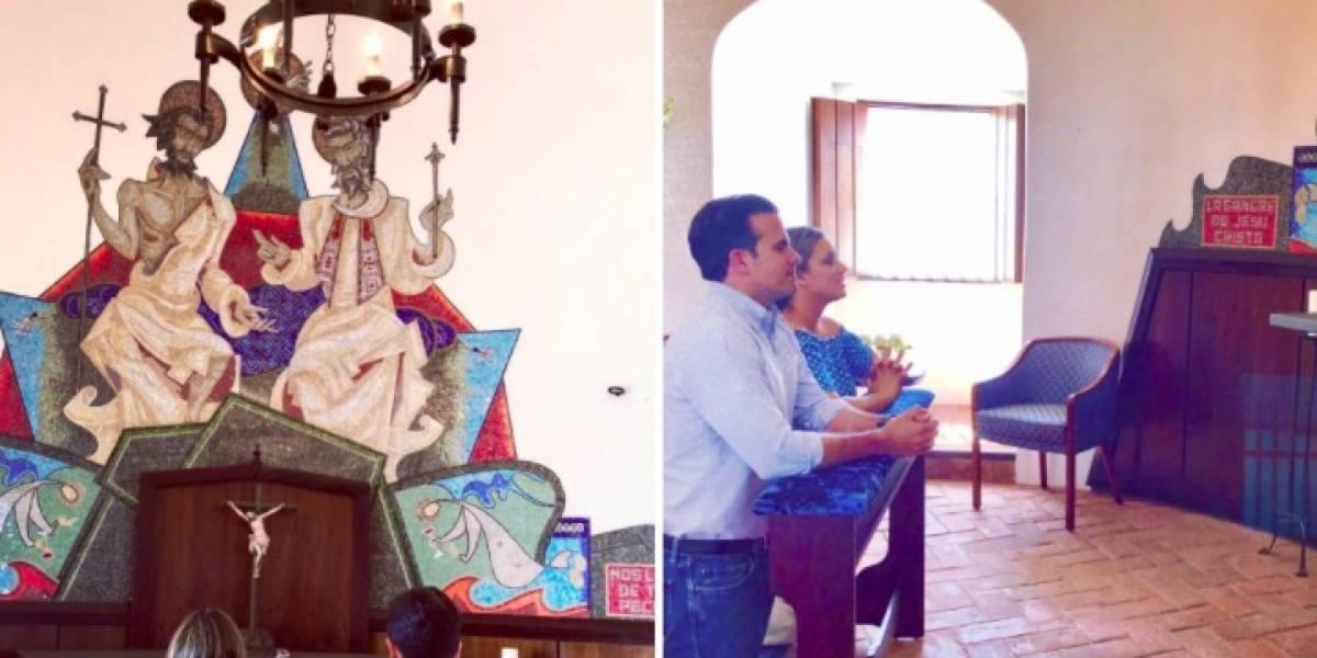La familia Rosselló reciben visita en la Capilla de Santa Catalina