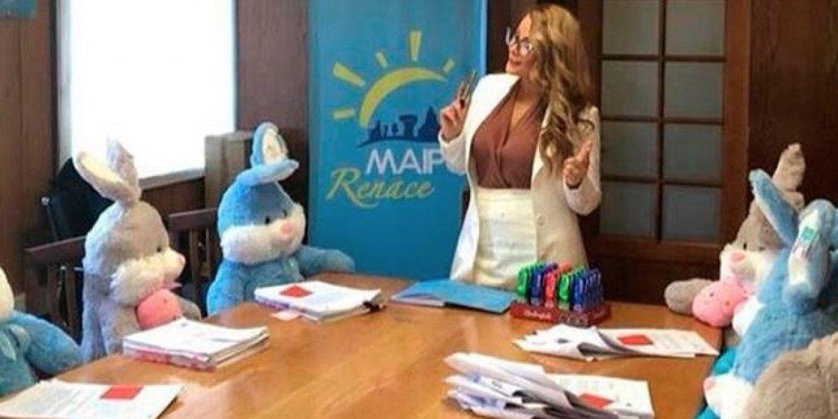 """Opiniones divididas provocó la """"delirante"""" reunión entre Cathy Barriga y un grupo de conejos de peluche"""