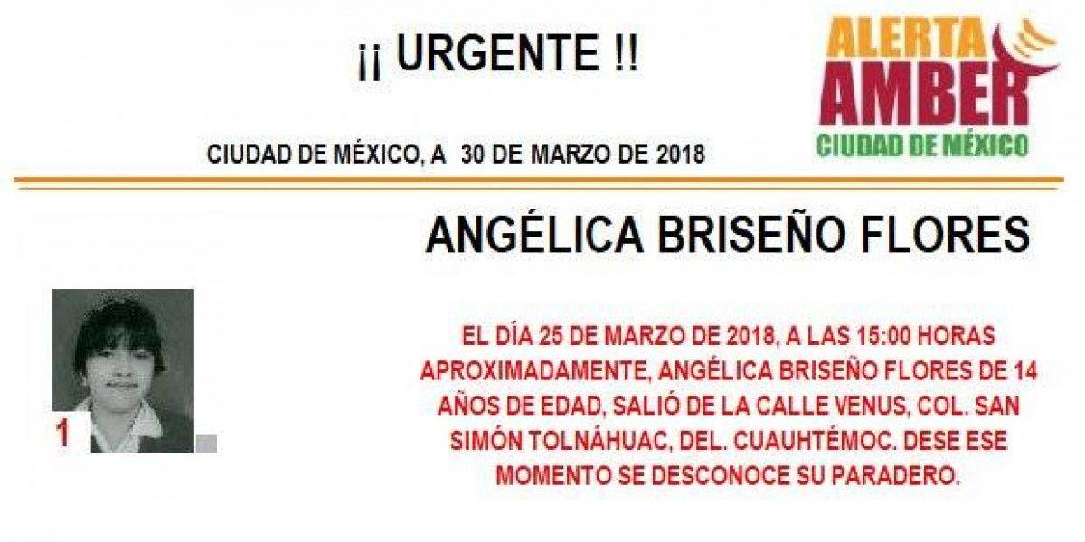 Alerta AMBER: Continúa la búsqueda de la menor Angélica Briseño Flores