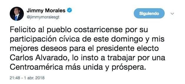 Jimmy Morales felicita a presidente electo de Costa Rica