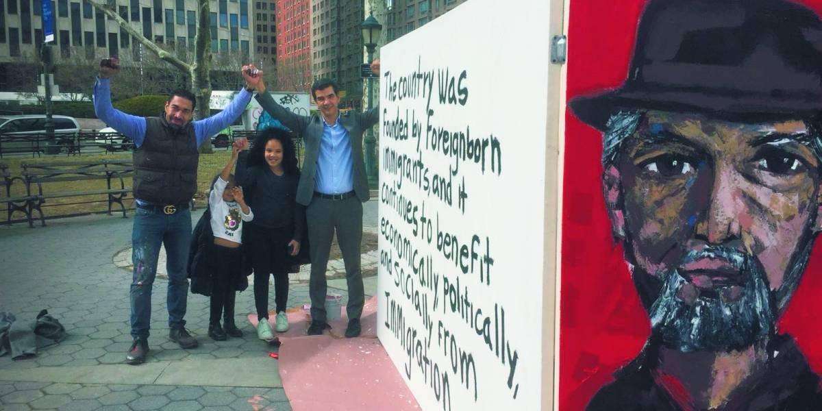 Artista Oscar Abreu llevó su arte al Bajo Manhattan en la ciudad de Nueva York