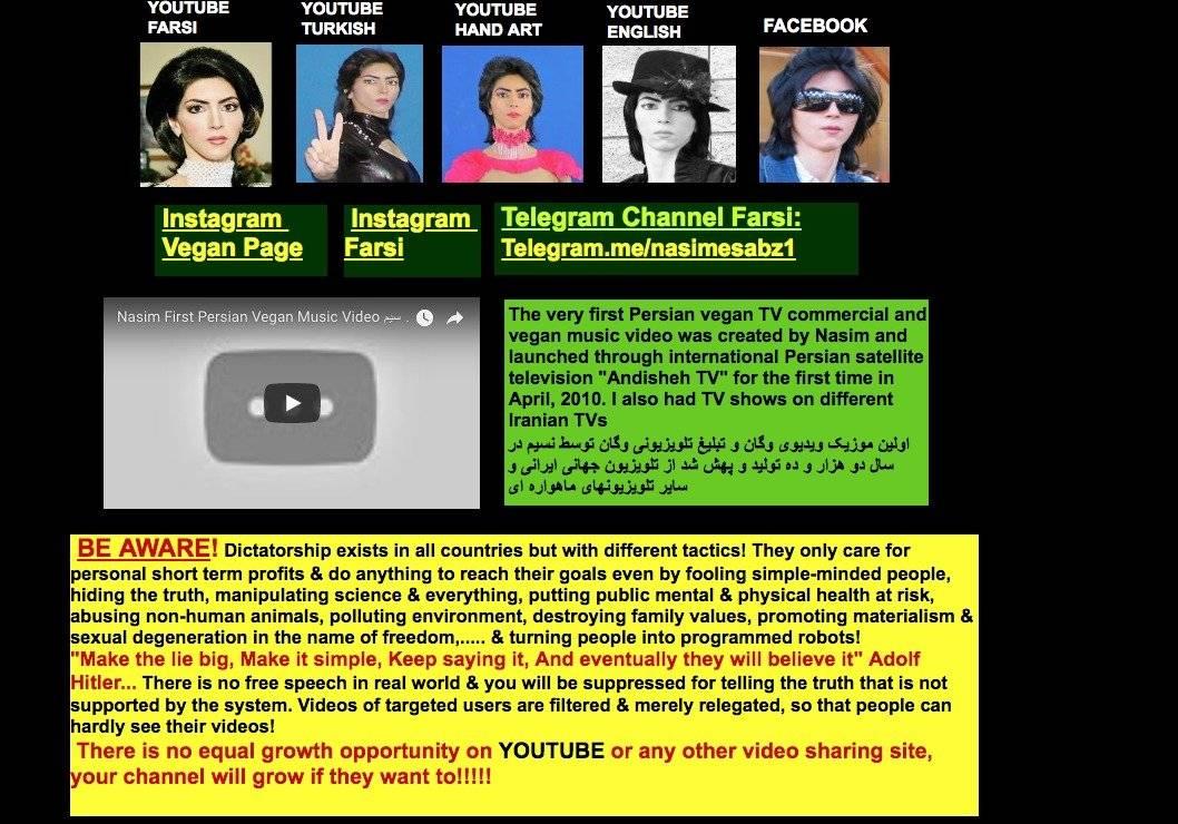 La página web de Nasim Aghdam