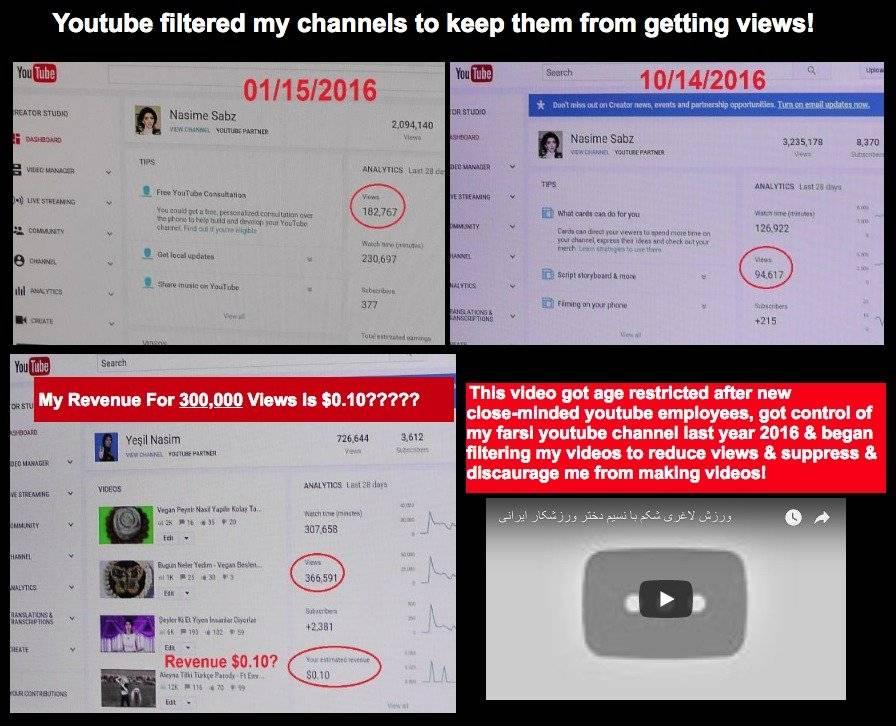 Críticas de Nasim Najafi Aghdam contra YouTube