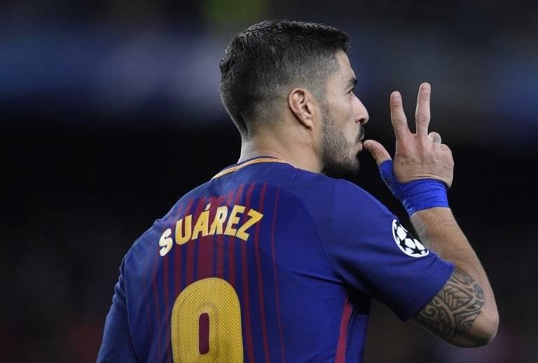 Luis Suárez celebra un gol contra la Roma