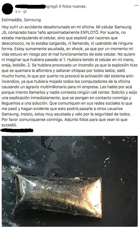 Celular Samsung explota en Chile, causando temor en su dueña