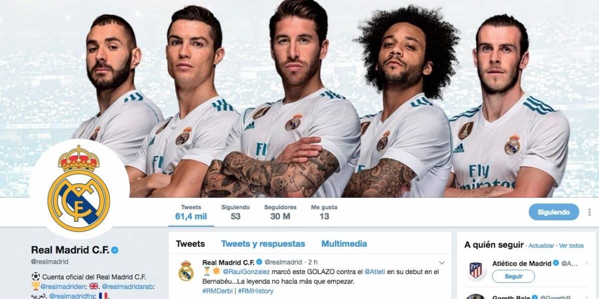 La cuenta oficial en Twitter del Real Madrid es la más seguida