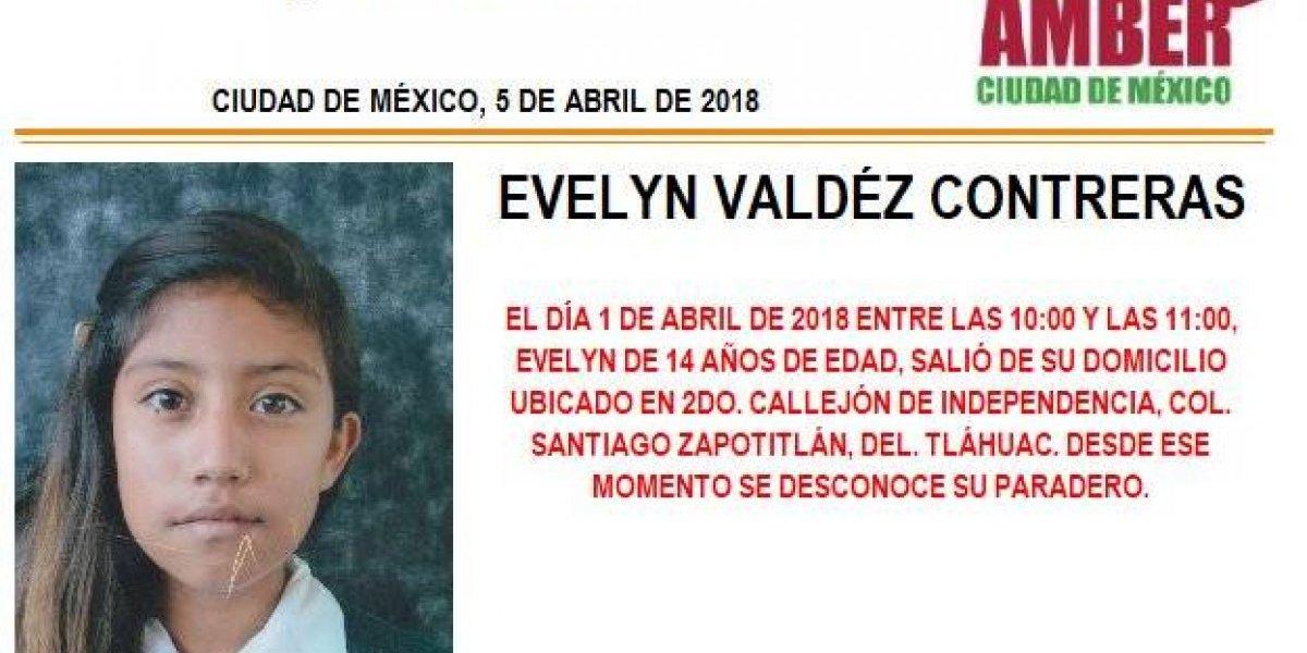 Alerta AMBER: Evelyn Valdéz Contreras desapareció al salir de su casa