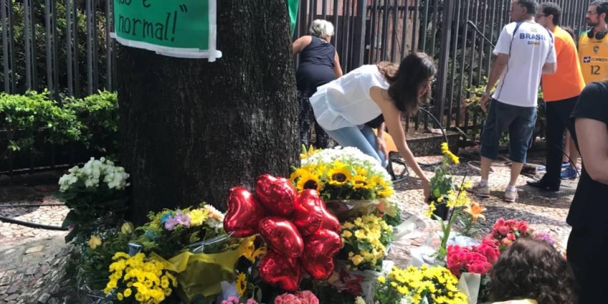 Grupo favorável à Cármen Lúcia limpa e coloca flores em prédio vandalizado