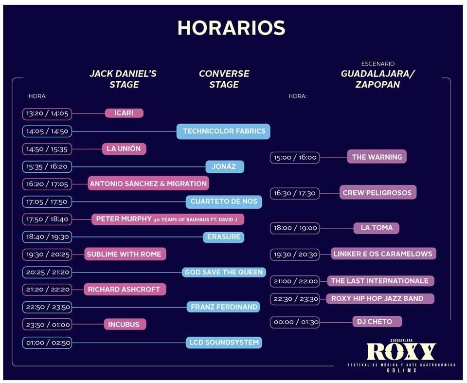 Horario Roxy Fest.