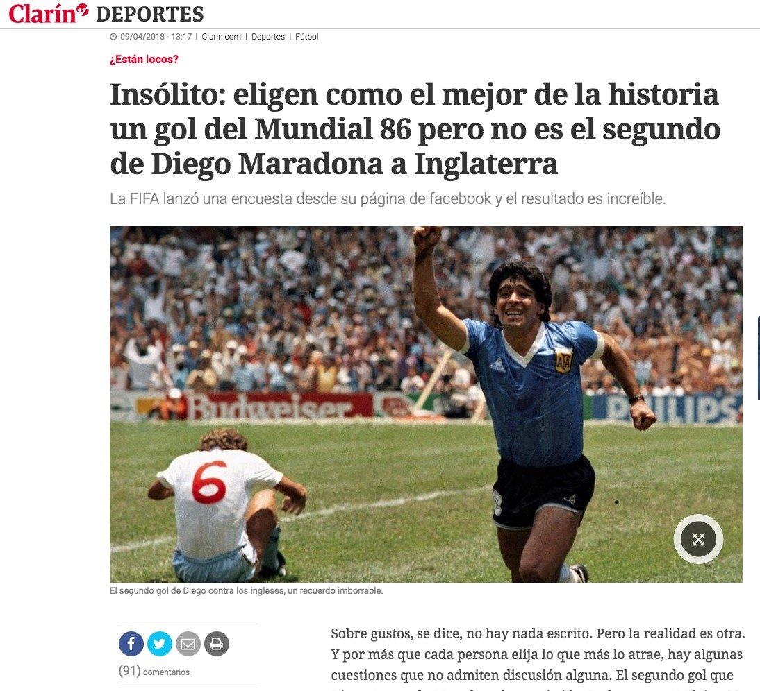 Uno de los titulares de la prensa argentina.