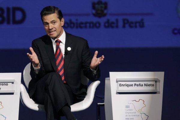 Enrique Peña Nieto, presidente de México, durante su participación en la VIII Cumbre de las Américas en Lima, Perú