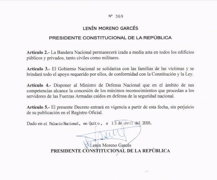 Duelo Nacional decreto