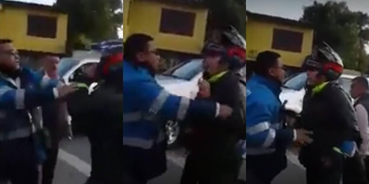"""""""¿Usted no sabe quién soy yo?"""" Policía agredió a un agente de tránsito"""